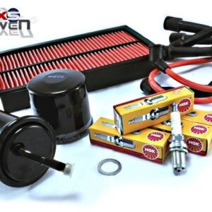 Mazda MX5 MK1 Service Kit Oil Air Fuel Filters NGK Spark Plugs Red HT Leads