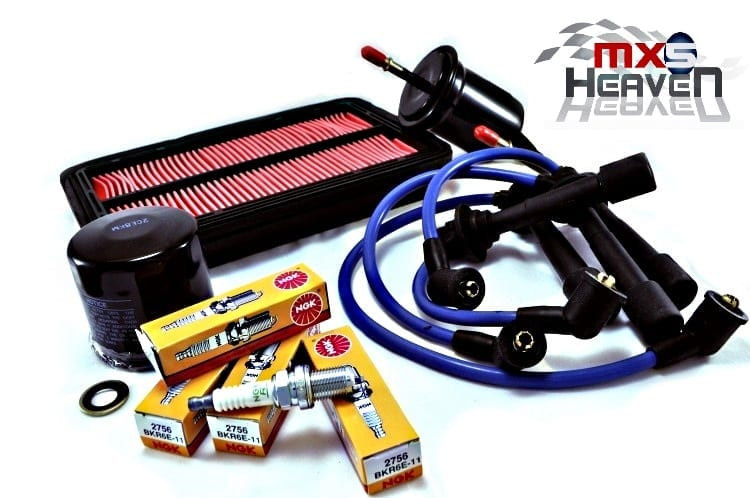 Mazda MX5 MK2 MK2.5 Oil Air Fuel Filters NGK Plugs Blue HT Leads