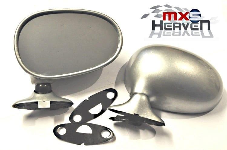 Mazda MX5 MK1 Door Mirrors Manual Silver Stone 3L Pair